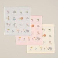 日本製 動物園図案紗布手帕