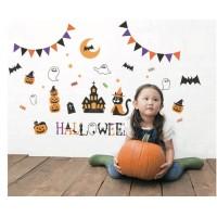季節活動牆壁貼紙 Helloween南瓜黑貓