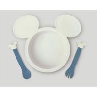 日本製DISNEY Mickey小盤子&spoon/folk套
