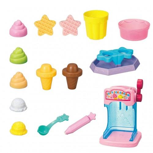 用水改變顏色的神秘的冰淇淋店