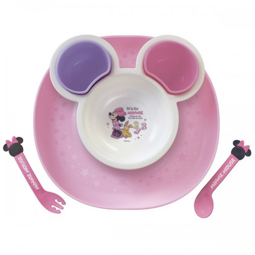 日本制 Disney Minnie BB碗子套裝 連餐盤